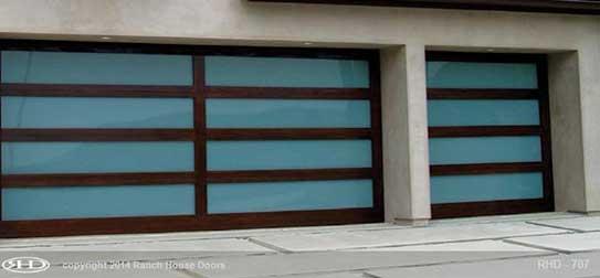 Wood garage doors for ranch home