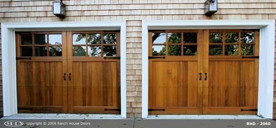 Wood garage door with glass windows