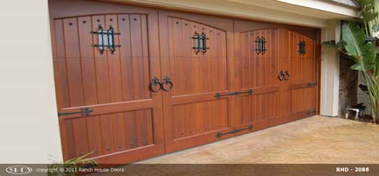 Red wood garage door