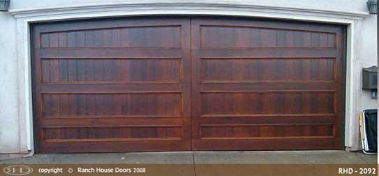 Wood ranch house garage door