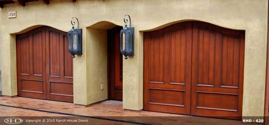 Red wood garage doors