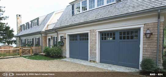 Blue garage door installation