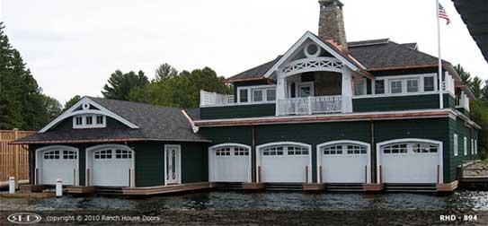 Wood garage doors for boat storage